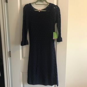 Lilly Pulitzer Shauna Tunic Dress Crochet in Navy